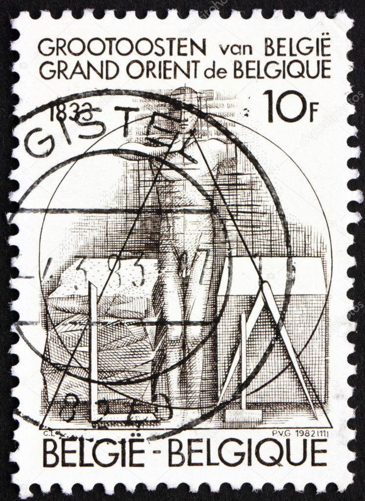 BELGIUM - CIRCA 1982: a stamp printed in the Belgium shows Man Taking Oath, Sesquicentennial of Grand Orient Lodge of Belgium, circa 1982 — Stock Photo #9772772