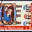 Stock Photo: Postage stamp Vatic1972 Illuminated Initial from St. Luke's G