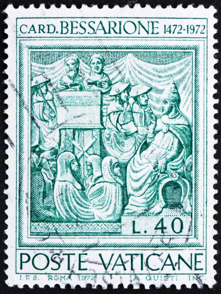 VATICAN - CIRCA 1972: a stamp printed in the Vatican shows Johannes Cardinal Bessarion, Latin Patriarch of Constantinople, circa 1972  Stock Photo #9850152
