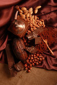 Chocolate and nuts — Stockfoto