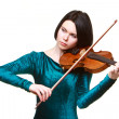 Girl with violin on white — Stock Photo