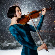 Girl with violin — Stock Photo
