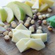 Cheese Comte with nuts and apples - Stock Photo