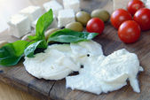 Mozzarella cheese, feta, tomatoes and basil — Stock Photo
