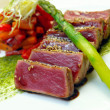 Stock Photo: Half-roasted tuna with stewed vegetables