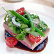 Grilled tuna with vegetables and sauce - Stok fotoraf