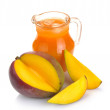 Mango juice and fruit - Stock Photo