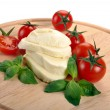 Mozzarella cherry tomatoes basil — Stock Photo