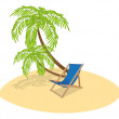 Sun Lounger and Palm Tree — Stock Vector