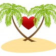 Two palms and red heart — Stock Vector