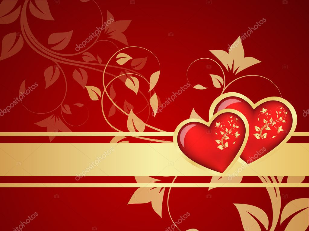 Red vector Valentine background. Floral branch pattern. — Stock Vector #8442932
