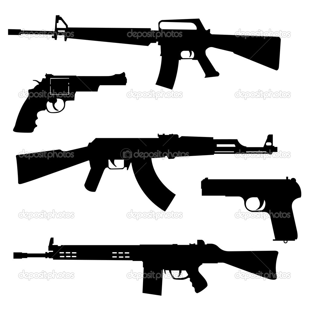 Silhouettes of pistols and submachine gun on a white background  Stock Vector #8011910