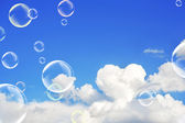 Cloud and soap bubbles — Stock Photo