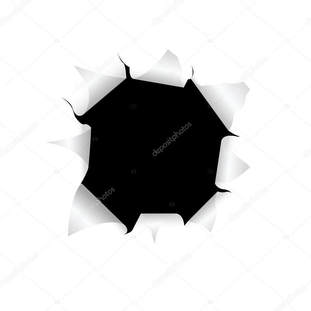 The black torn hole in a white paper — Stock Vector #8193251