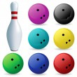 Set of balls. Bowling — Stock Vector