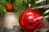 Xmas red glass sphere — Stock Photo