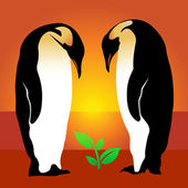 Penguin. Plant — Vector de stock