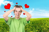 Der fröhliche Teenager. Rote Herzen — Stockfoto