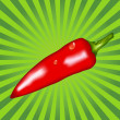 Red pepper on a green background — Image vectorielle