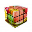 Cube with fruit. Abstract — Stock Photo