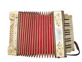 Old dirty accordion musical instrument isolated over white — Стоковое фото