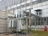 Huge industrial high voltage converter at power plant — Stock Photo