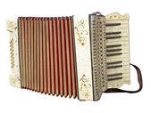 Vieux sale accordéon musical instrument isolé sur blanc — Photo