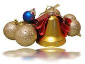 Vánoční složení s bell a zlaté cibule — Stock fotografie