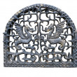 Fireplace door with metallic dragon symbol isolated — Stock Photo