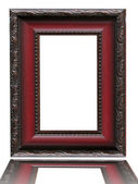 Red empty picture frame over white background — Stock Photo