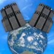 Stock Photo: Old powerful stage audio speakers over Earth globe