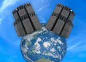 Old powerful stage audio speakers over Earth globe — Stock Photo