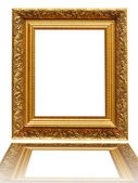 Vintage antique gold picture frame over white — Foto de Stock