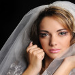 Beauty young bride dressed in elegance white wedding dress — Stock Photo #10219095