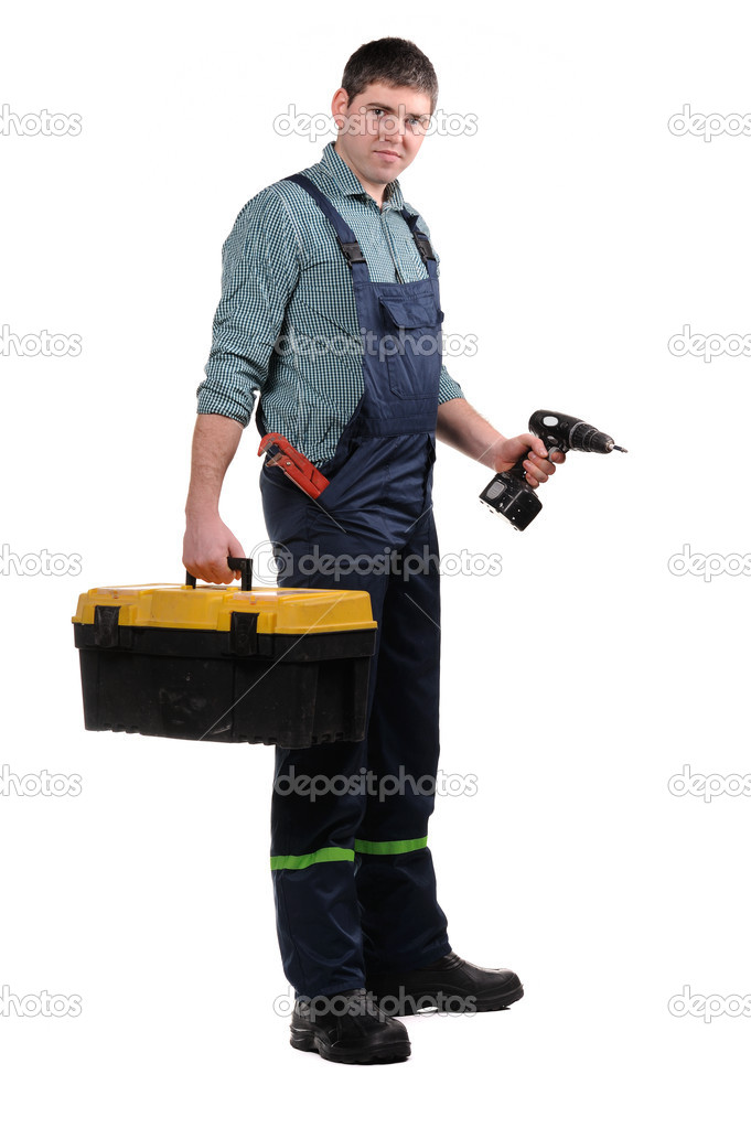 Mechanic with tools isolated on the white background  Stock Photo #8661990