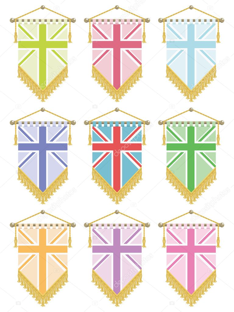 United kingdom flag pennants with union jack variations isolated on white, no gradients or transparencies  Stock Vector #10072230