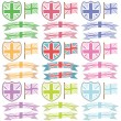 Stock Vector: Uk shields and ribbons