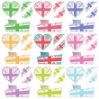 Stock Vector: Uk hearts and ribbons