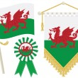 Stock Vector: Wales flags