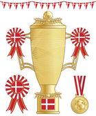 Denmark football trophy — Stock Vector