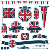 Uk flags and ribbons — Vecteur