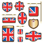 Uk wooden plaques — Stock Vector
