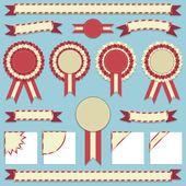 Rosettes and ribbons — Stock Vector