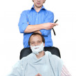 Stock Photo: Barber and Client