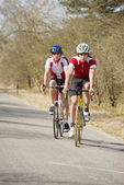 Cyclists close together — Stockfoto