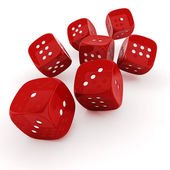 3d dice on white background — Stock Photo