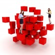 Stock Photo: Young business woman and a 3d cube maze