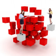 Young business woman and a 3d cube maze — Stock Photo