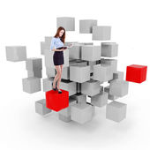 Young business woman and a 3d cube maze — Stockfoto
