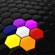 3d colorful hexagonal puzzle pieces — Stock Photo